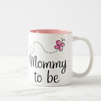Mommy To Be Pink Butterfly Gift Two-Tone Coffee Mug