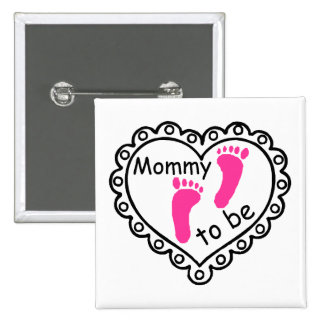 Mommy To Be Pink Girl Footprints Heart 2 Inch Square Button