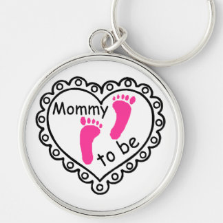 Mommy To Be Pink Girl Footprints Heart Keychain