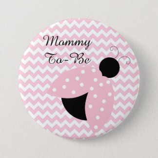 """Mommy To Be"" Pink Ladybug Baby Shower Button"