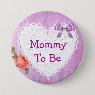 Mommy to be Purple Rose baby shower Button