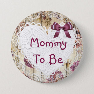 Mommy to be shabby chic maroon baby shower Button