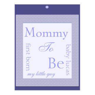 Mommy to be shower decoration blue postcard