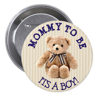 Mommy to be, Teddy Bear Baby Shower Button