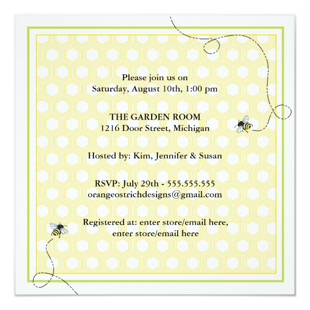 Mommy to Bee Baby Shower Invitation (back side)