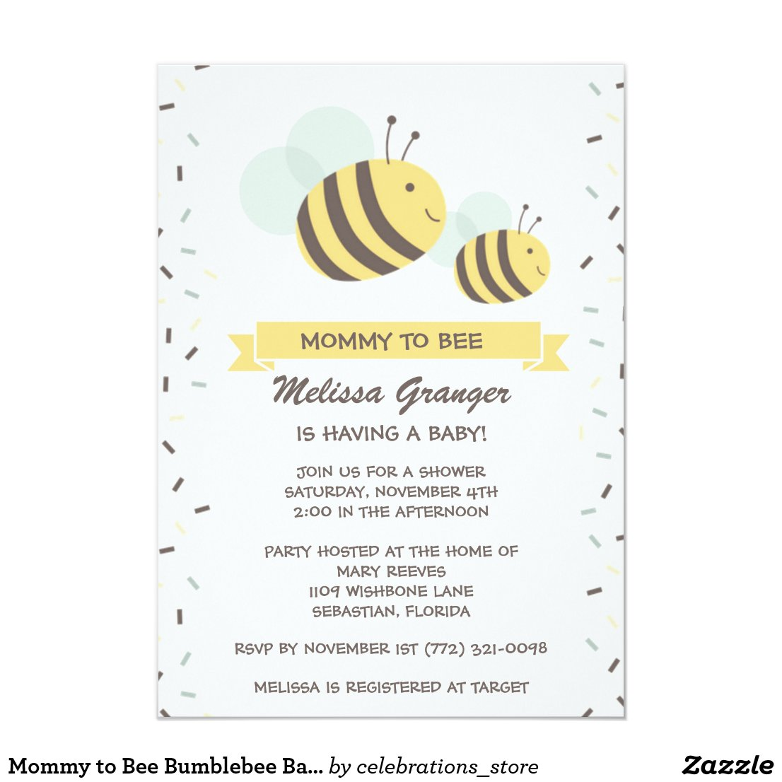 Bumble Bee Baby Shower Invitations Tropical Papers
