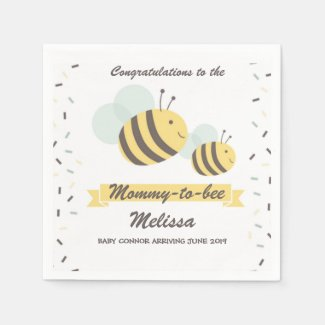 Mommy To Bee Bumblebee Baby Shower Napkin