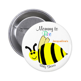 Mommy To Bee Cute Yellow Bumble Bee Baby Shower 2 Inch Round Button
