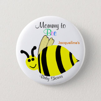 Mommy To Bee Cute Yellow Bumble Bee Baby Shower Pinback Button