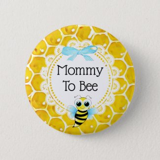 Mommy to Bee Honeycomb Baby Shower Button