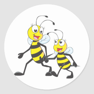 Mommy Walking with Child Cartoon Bees Round Stickers