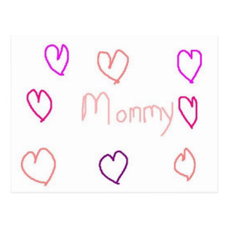 mommy  with hearts postcard