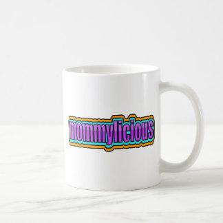 Mommylicious, enrrollado -- Púrpuras, azul, naranj Tazas De Café