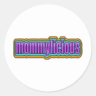 Mommylicious, enrrollado -- Púrpuras, azul, Pegatinas Redondas