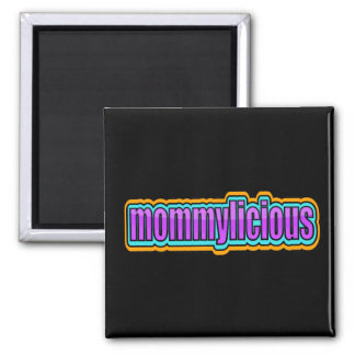Mommylicious, Funky -- Purples, Blue, Orange 2 Inch Square Magnet