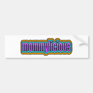 Mommylicious, Funky -- Purples, Blue, Orange Bumper Sticker