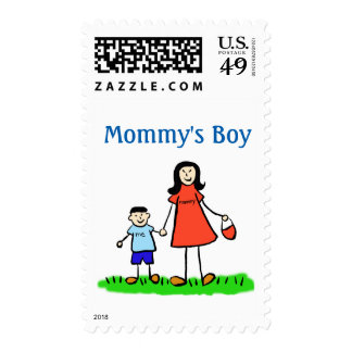 Mommy's Boy Family Personalized Art Postage Stamps