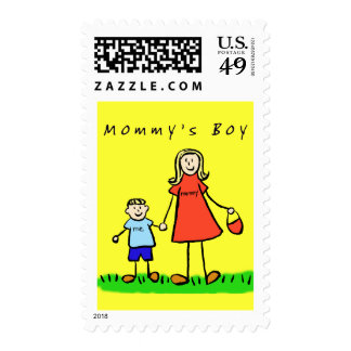 Mommy's Boy - Mother and Son Art Postage Stamps