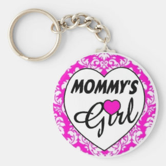 mommys girl. pink basic round button keychain