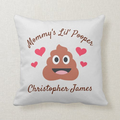 Mommy's Lil' Pooper Funny Custom Photo Throw Pillow