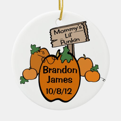 Mommy's Lil' Punkin Double-Sided Ceramic Round Christmas Ornament