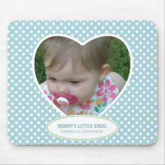 Mommy's Little Angel: Blue Heart: Picture Mousepad