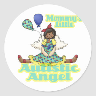 Mommys Little Autistic Angel African American Round Stickers