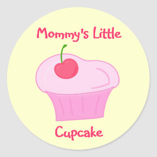 Mommy's Little Cupcake -Cute Pink Cake with Cherry Classic Round Sticker