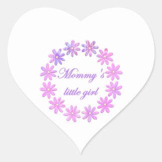 Mommy's Little Girl (pink flowers) Heart Sticker