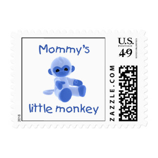 Mommy's Little Monkey (blue) Postage Stamps