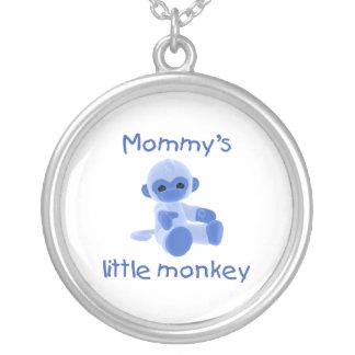 Mommy's Little Monkey (blue) Round Pendant Necklace