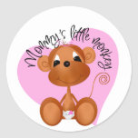 Mommy's Little Monkey - Girl Tshirts and Gifts Classic Round Sticker