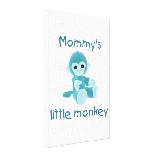 Mommy's Little Monkey (teal) Canvas Print