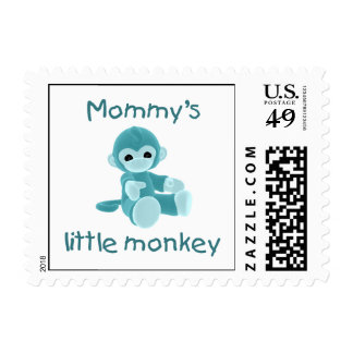 Mommy's Little Monkey (teal) Stamp