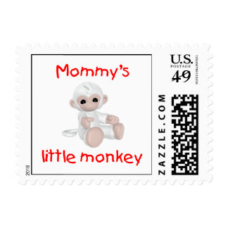 Mommy's Little Monkey (white) Postage Stamps
