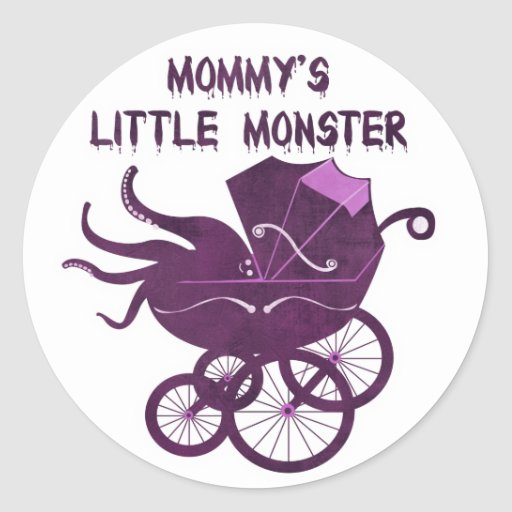 Mommy's Little Monster. Classic Round Sticker