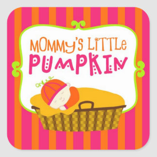 Mommy's Little Pumpkin, Pink and Orange Stickers