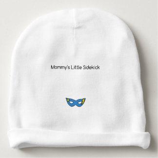 Mommy's Little Sidekick superhero mask blue Baby Beanie