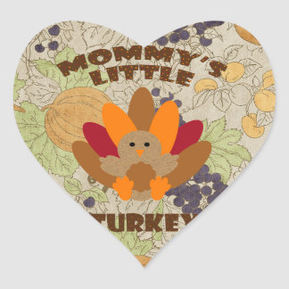 Mommy's Little Turkey Heart Sticker