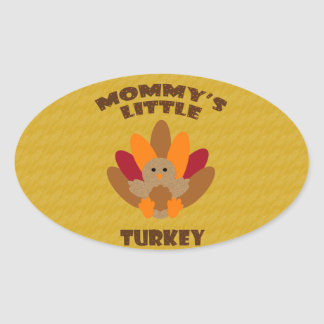 Mommy's Little Turkey Oval Sticker
