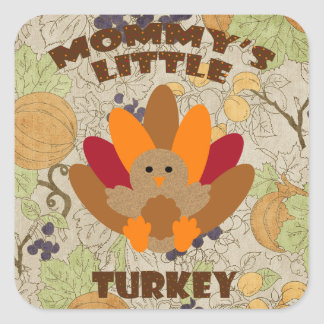 Mommy's Little Turkey Square Sticker