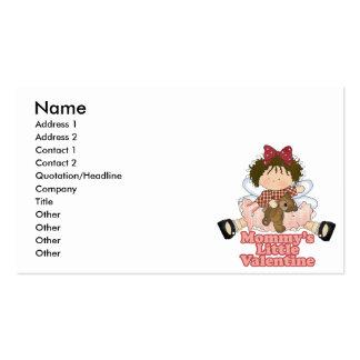 mommys little valentine brunette girl business cards
