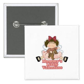 mommys little valentine brunette girl 2 inch square button