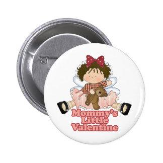 mommys little valentine brunette girl 2 inch round button