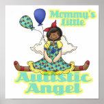 Mommys poco afroamericano autístico del ángel poster