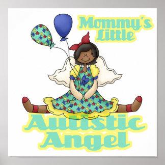 Mommys poco afroamericano autístico del ángel póster
