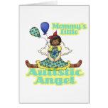Mommys poco afroamericano autístico del ángel felicitaciones