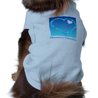 Mommy's Valentine Blue Doggie Ringer T-Shirt