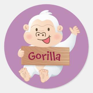 Momo White Gorilla Round Sticker