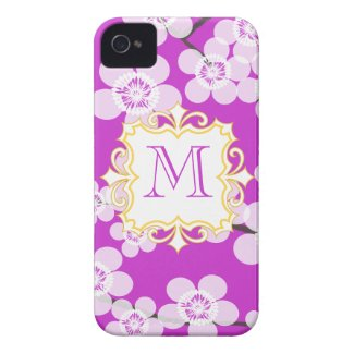 Momogram Purple with Cherry Blossoms iPhone case Iphone 4 Tough Covers